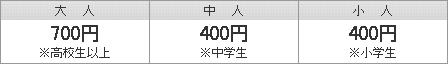 大人(高校生以上)500円   中人(中学生)200円   小人(小学生)200円