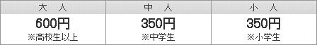 大人(高校生以上)400円   中人(中学生)150円   小人(小学生)150円